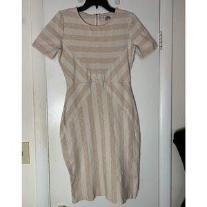 DE Collection Striped Bodycon Midi Dress Tan Cream